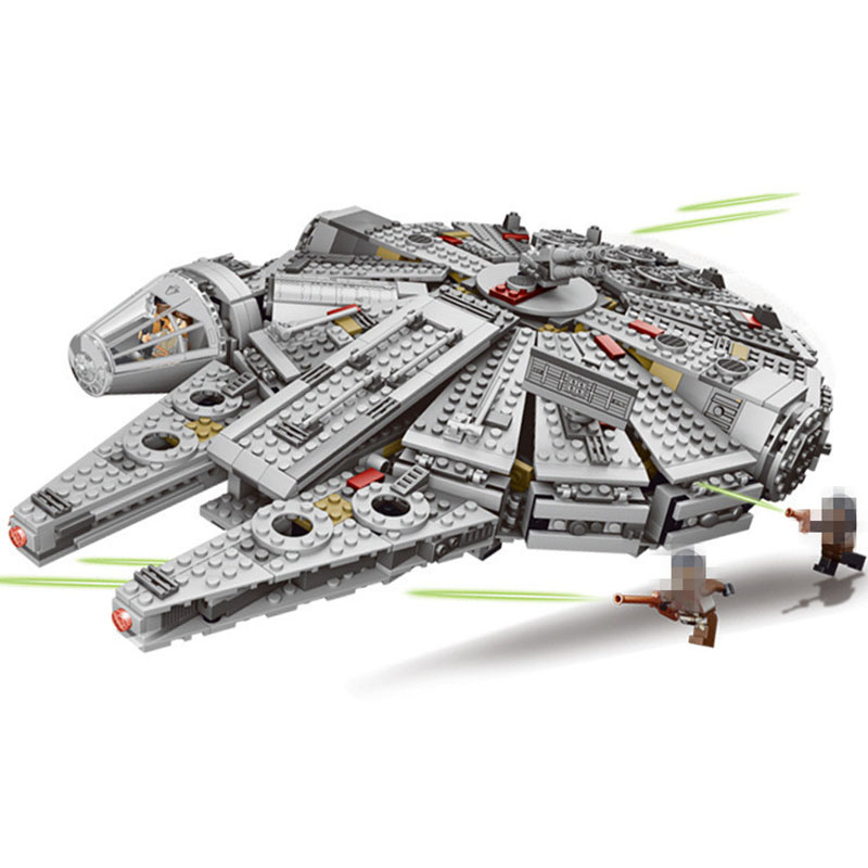 LEPIN 05007 Star Series War 1381pcs Building Blocks Force Awakens Millennium Toys Falcon Model Kits BB-8 lepin 05007 stars series war 1381pcs force awakens millennium toys falcon diy set model building kits blocks bricks children toy