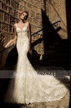 Dream Angel Beaded Lace Mermaid Wedding Dress 2017 Romantic Sweetheart Spaghetti Straps Sexy Backless Vestido De Noiva Plus Size