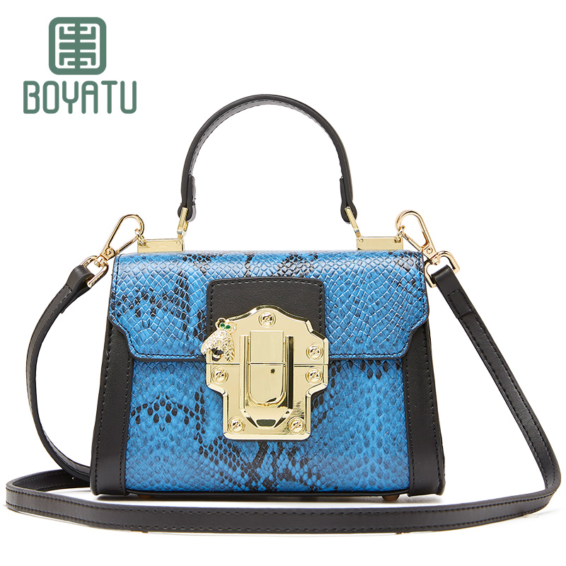 BOYATU 2018 Hot Sales Split Leather Cowhide Women Serpentine Crossbody Messenger Small Bags Purse Female Chains Straps