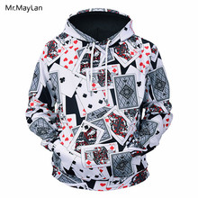 3D Print Poker Cards Jacket Men/Women Hipster Autumn Long Sleeves Hat Sweatshirts Boys Hiphop Hoodies Outerwear Clothes Harajuku