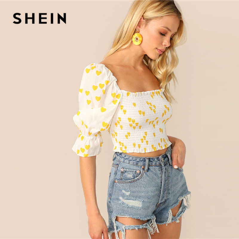SHEIN Heart Print Gathered Sleeve Shirred Crop Top Women Slim Fit White Square Neck Summer Puff Flounce Sleeve Blouses