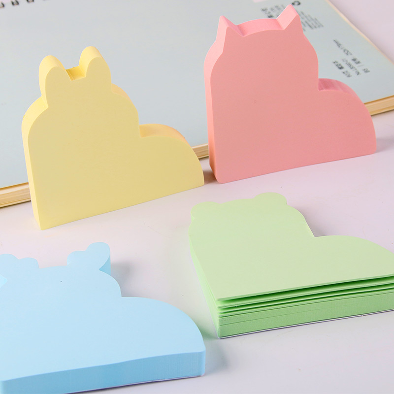 1 Bag 100 Sheets Lovely Animals Shaped Memo Pads Stickers Self-Adhesive Sticky Notes Post It School And Office Deli 6413