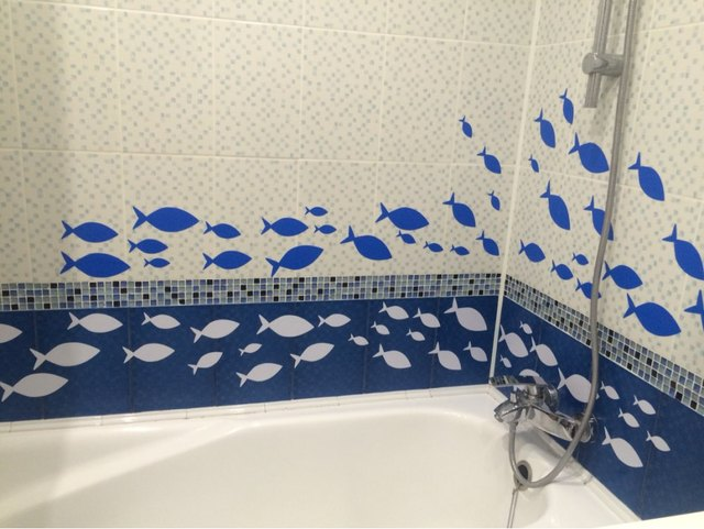 Free Shipping 35 fish / Lot Fish vinyl wall decal bathroom decor , Bathroom wall sticker Ocean Fish Scene
