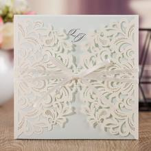цены Wedding Invitations Kit with Envelopes, Laser Cut Square Birthday Invites with Printable Cards, for Baby Shower Quinceanera