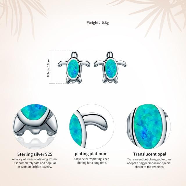 File VOROCO genuine 925 Sterling Silver Blue Natural Opal Sea Turtle Orecchini per le Donne Regalo Del Partito Fine Jewelry VSE064