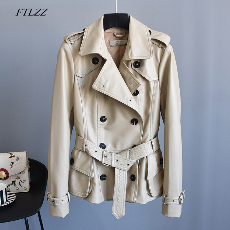 FTLZZ Autumn New Women Faux Soft   Leather   Jacket Coats Double Breasted Casual Epaulet Pu Moto Jacket Turn-down Collar Outerwear