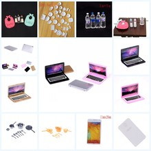 1 Set Simulation Dollhouse Accessories Mini Laptop Computer Dishes Phone Tableware For 1/6 Or 1/12 Dollhouse Pretend Toy For Kid