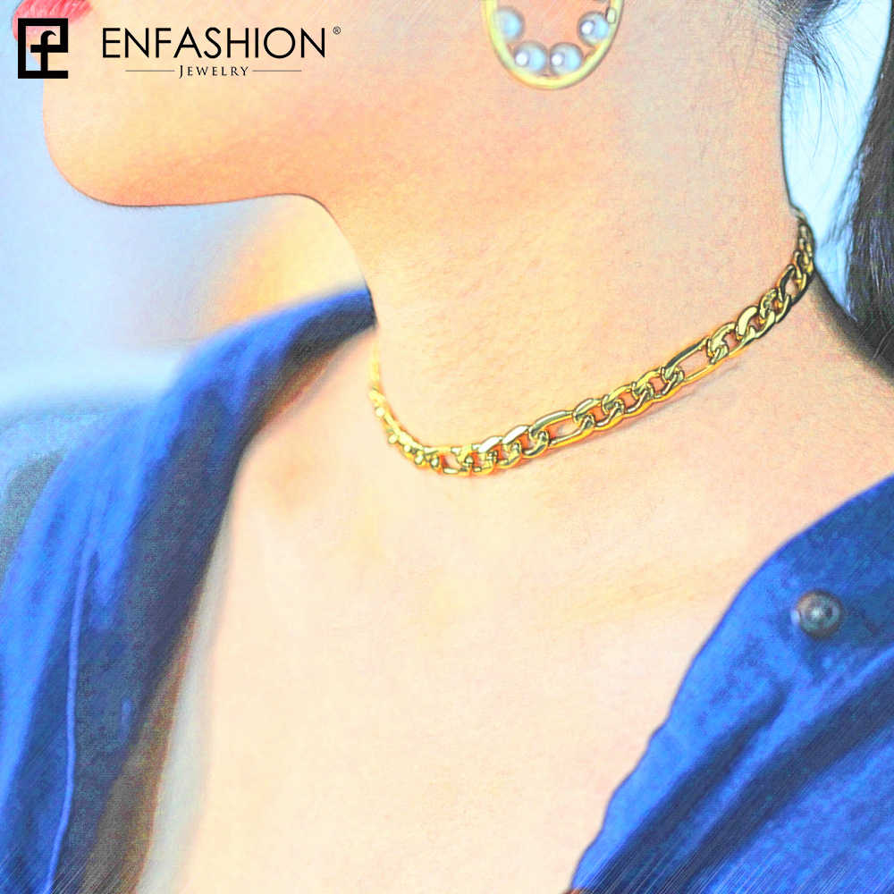 Enfashion Link Chain Choker Necklace Women Statement Gold Color Stainless Steel Necklaces  Men Jewelry Accessories Collares 3010