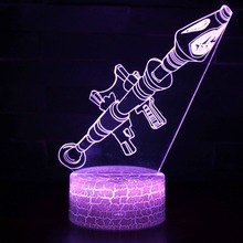 3D LED Lamp 7 Colors Touch Switch Table Light Lava Lamp Acrylic Illusion Room Atmosphere Lighting Game Fans Gift Rocket Launcher
