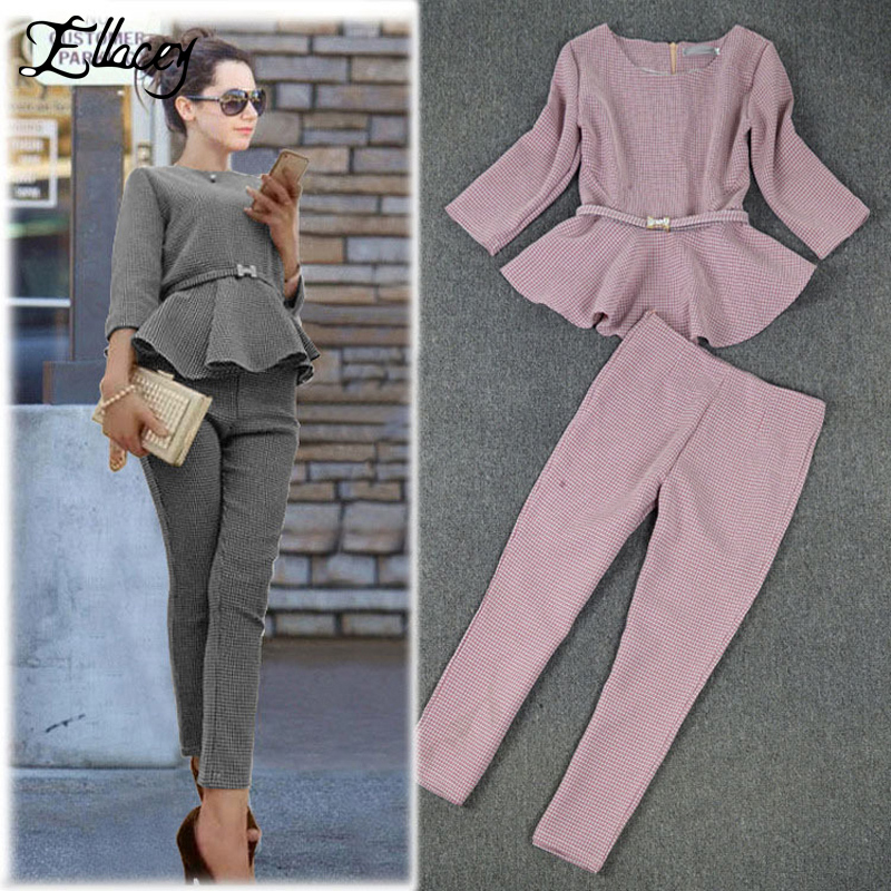 New 2018 Spring Autumn Fashion Women'S Business Pants Suits Houndstooth Checker Pattern Ruffles Suits For Women 2 Pieces Set