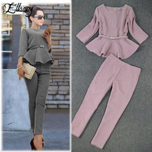 New 2020 Spring Autumn Fashion Women's Business Pants Suits Houndstooth Checker