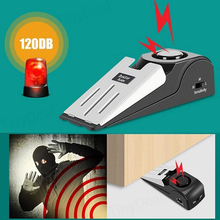Household 100dB Mini Size Lightweight Portable Alarm Door Stop Home Doors Wedge Shaped Stopper with 30s Alert