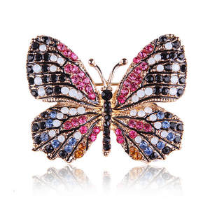 MISANANRYNE Cute Butterfly Brooch Mix Color Austrian Crystal Rhinestone Brooches for Women Fashion Jewelry Boutonniere