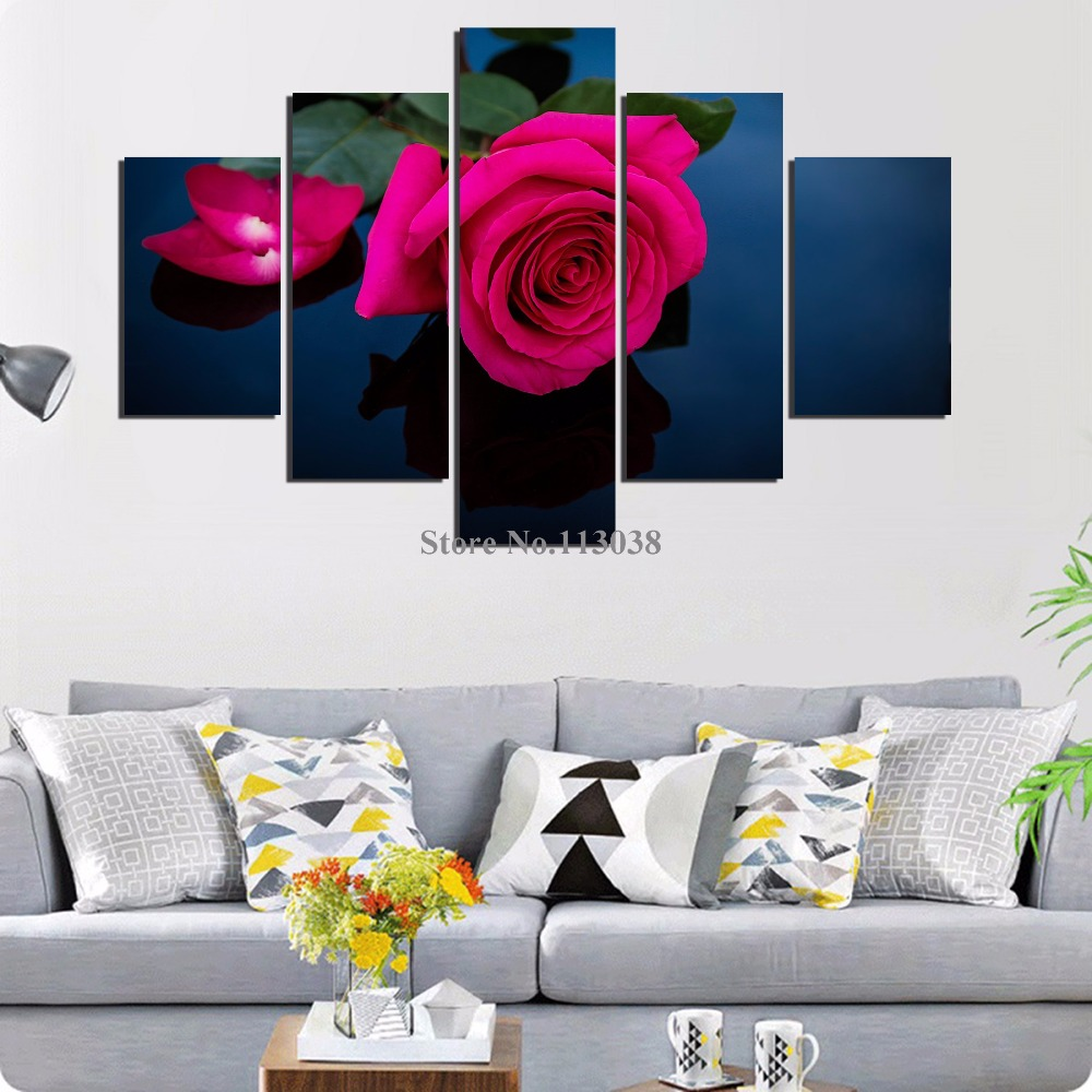 5 Pieces Red Flower Printed Canvas Painting Living Room Wall Art ...