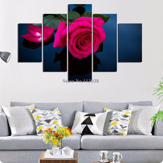 5 Pieces Red Flower Printed Canvas Painting Living Room Wall Art Rose  Pictures No Frame Free Part 59