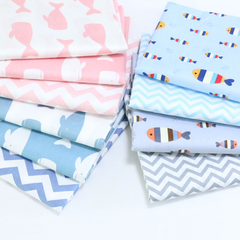 Nabi Korean cute cartoon printed cloth and cotton cloth baby infant porpoise corrugated coated fabric is summer ...