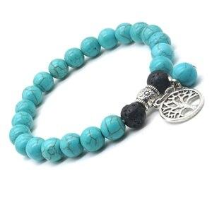 Image 4 - Liebhaber Baum des Lebens 8mm Lava Stein Kallaite Healing Balance Perlen Reiki Buddha Gebet Ätherisches Öl Diffusor Armband Schmuck