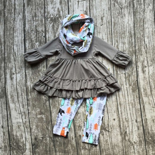 2016 FALL/Winter scarf set children cotton suit baby forest animal girls 3pieces grey ruffles print pants boutique clothes kids