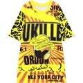 2016 nuevas mujeres del verano estilo de la calle de manga corta t-shirt allover jersey de impresión tee tops para mujer camiseta de las señoras Camiseta amarilla camisa