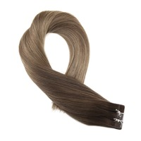 Moresoo Remy Hair Extensions Human Hair Tape in Seamless Hair Color #4 Brown Fading to #10 and #16 Blonde Skin Weft Ombre Hair