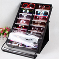 HIPSTEEN 16pcs/18pcs Sunglasses Reading Glasses Show Stand Holder Eyewear Display Stand HolderStorage Box Case-Black + White