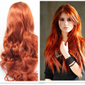 Fashion Long Body Wavy Synthetic Wigs Red Orange Hair Wigs With Baby Hair Heat Resistant Synthetic Lace Wig