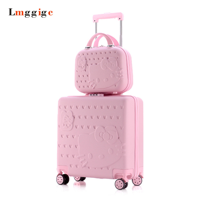 Hello Kitty Suitcase Set,Kids Rolling Luggage Cabin Bag,Children Travel Case,Women's Universal wheel Trolley box,ABS Carry On lovely hello kitty luggage children trolley travel bag 18 inch cartoon kids suitcases hello kitty bag for girls