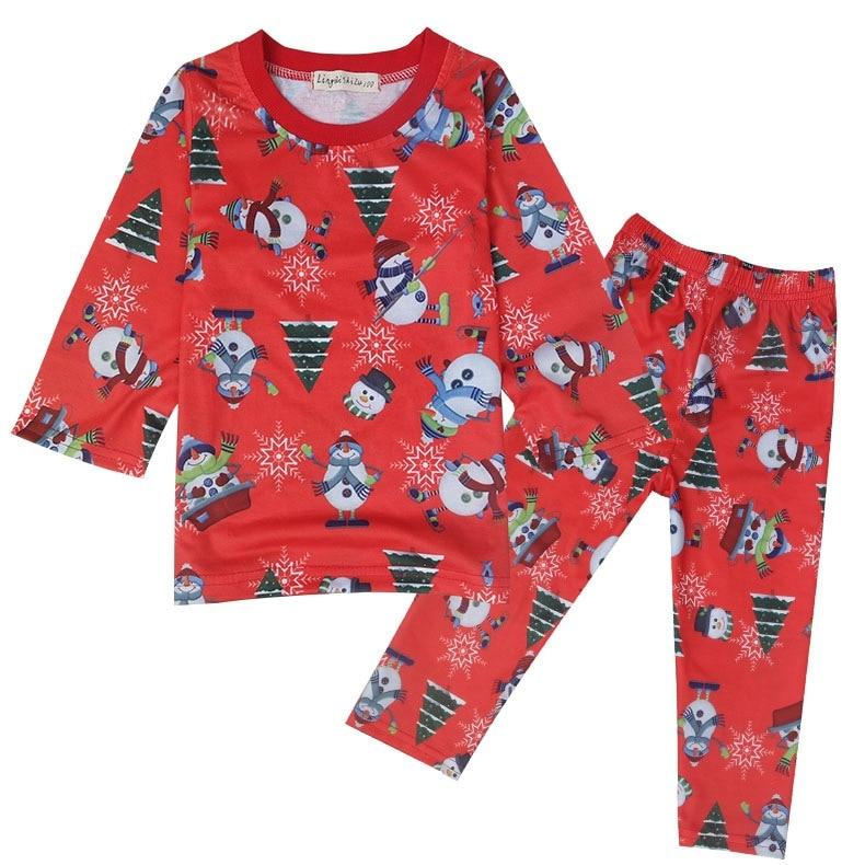 Christmas Girls Pajama Sets Spring Autumn Cartoon Cotton Clothing Set for Girls Long Sleeve Shirt Pants 2 Pieces Kids Clothing
