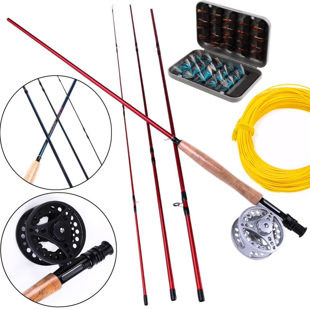 Sougayialng 8.86FT # 5/6 Fly Fishing Rod Set 2.7M Fly Rod and Fly Reel Combo with Fly Fishing Lure and Line As Gift Del Pesca