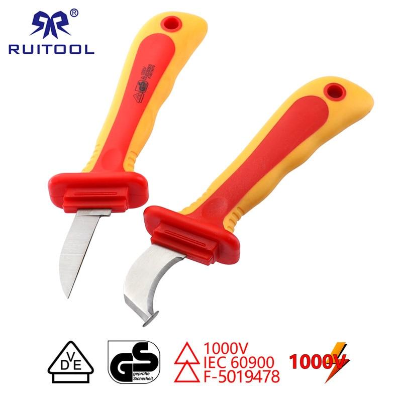 Isolierte Elektriker Messer VDE 1000 V Kabel Strippen Messer Gerade Gebogen Haken Feste Klinge Draht Stripper Werkzeuge Für Elektriker