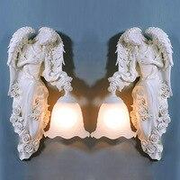 Туда Бесплатная доставка Европейский бра из смолы статуя Ангела бра для Гостиная Настенные светильники E27 110 V 220 V