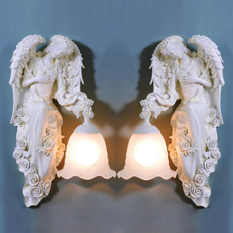 TUDA Free Shipping European Resin Wall Lamp Angel Statue Wall Lamp For Living Room Wall Lights E27 110V-220V
