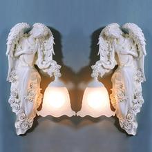 TUDA Free Shipping European Style Wall Lamp Angel Statue Wall Lamp For Living room Lamp Entrance Aisle Lights E27 110V-220V