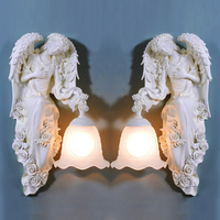 TUDA Free Shipping European Style Wall Lamp Angel Statue Wall Lamp For Living room Lamp Entrance Aisle Lights E27 110V 220V