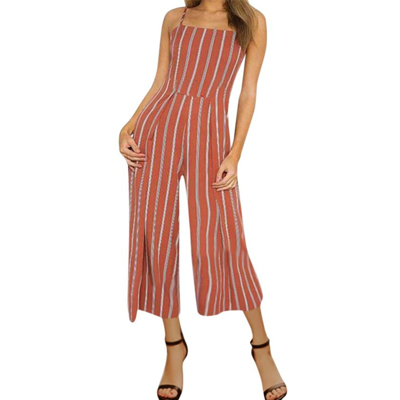 CHAMSGEND 2018 NEW Drop shipping product Women Ladies Stripe Printing Sleeveless Long Playsuits Rompers Jumpsuit O0707#30