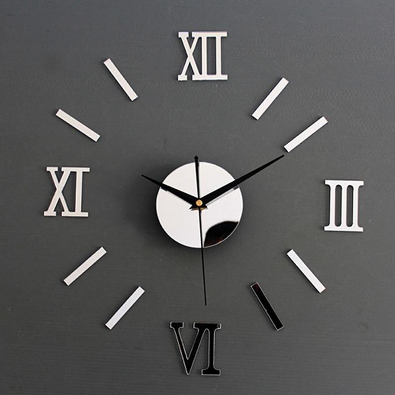 New Clock Watch Wall Clocks Horloge 3d Diy Acrylic Mirror Stickers Home Decoration Living Room Needle
