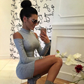 Long Sleeve Turtleneck Off Shoulder Mini Sexy Bodycon Dress 2017 New Spring Casual Women Club Dresses