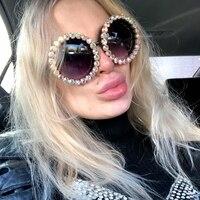 Женские крупные Солнцезащитные очки Винтаж Роскошные Стразы солнцезащитные очки для женщин круглые мужские солнцезащитные очки Оттенки д...
