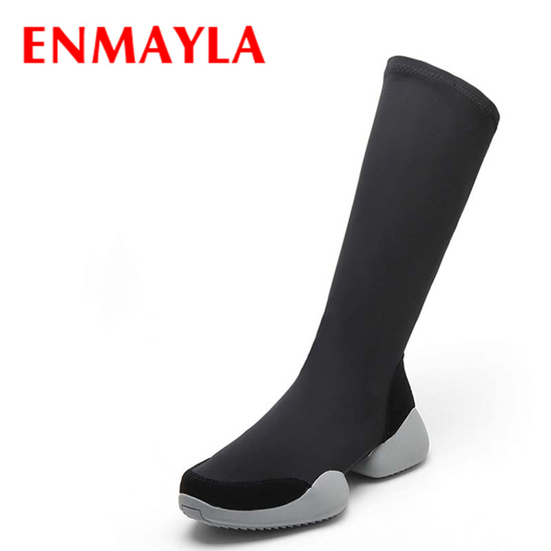 ENMAYLA Fashion Low Heels Round Toe Large Size 34-43 Black Shoes Woman Mid-calf Boots Autumn and Winter Boots Platform Shoes enmayla ankle boots for women low heels autumn and winter boots shoes woman large size 34 43 round toe motorcycle boots
