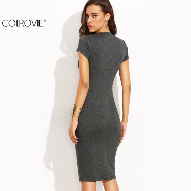COLROVIE Summer Office New Arrival Women's Bodycon Dresses Sexy Short Sleeve Crew Necl Work Knee Length Dress
