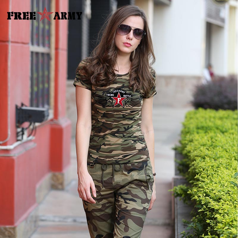FreeArmy Brand Summer T-Shirt Women Star Printing Military Camouflage Cotton T Shirts Female Camo Tops Tees Women's Clothing