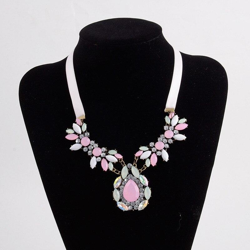 QianBei Fashion Women Jewelry Cloth Crystal Drop Choker Chunky Statement Chain Bib Necklace Party Wedding Gifts Free Shipping