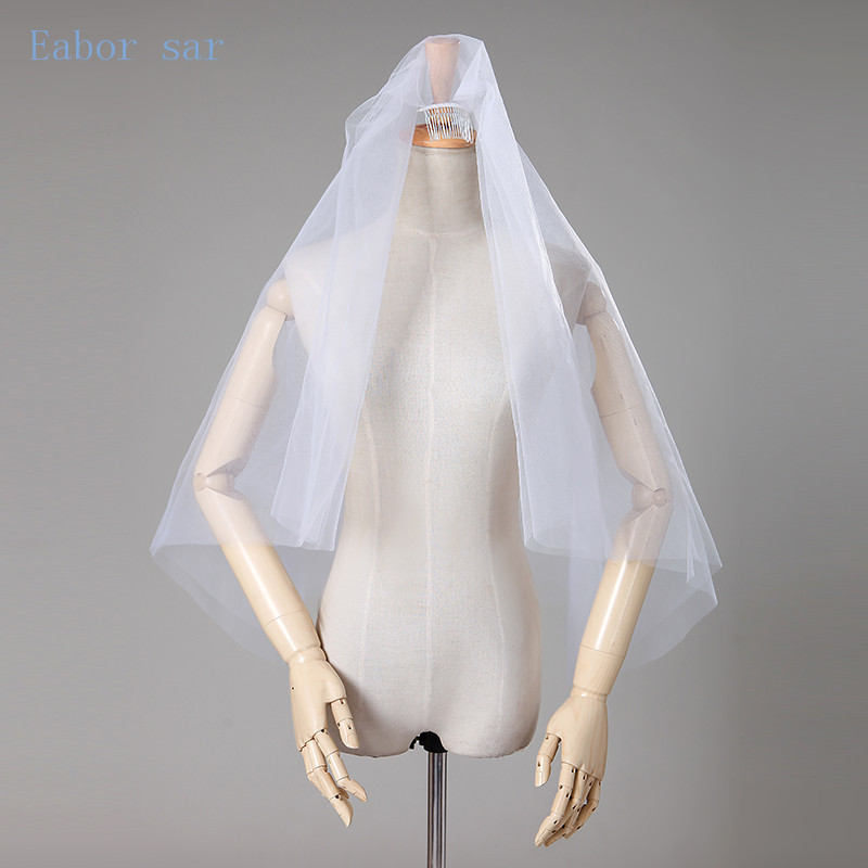 Hot Sale Wedding Accessories Short Simple Wedding Veil White Ivory Two Layer