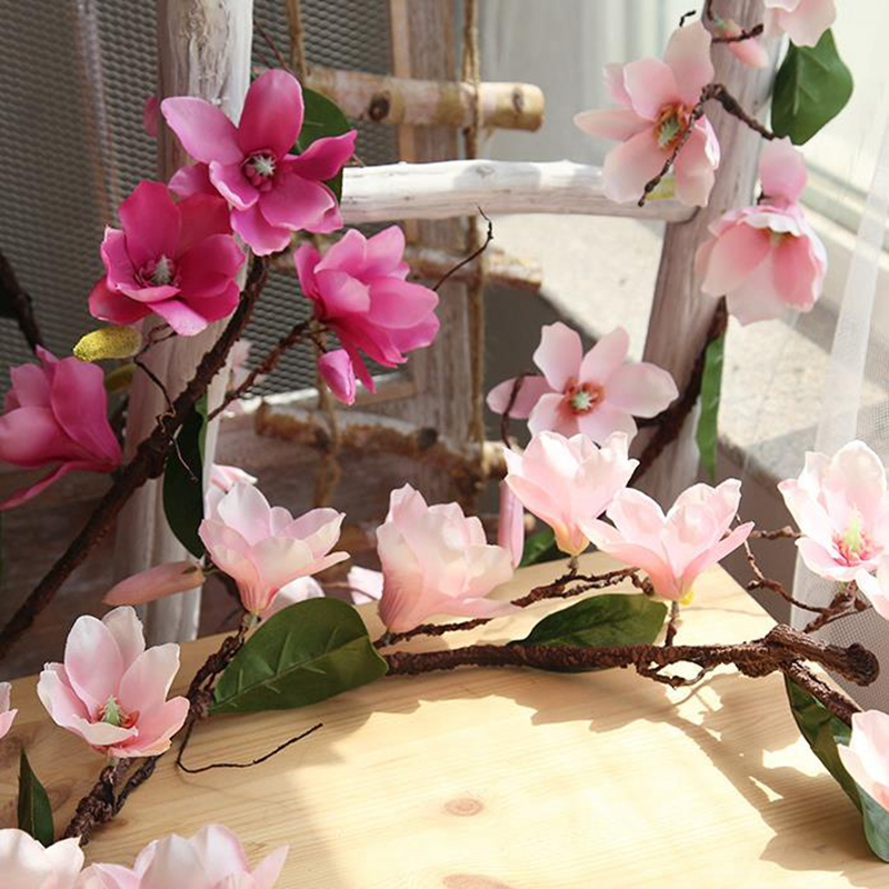 20 Pcs Aritificial Magnolia Vite Vite Fiori di Seta Decorazione di Cerimonia Nuziale Viti Della Parete Del Fiore di Orchidea Rami di Albero di Orchidea Corona - 4