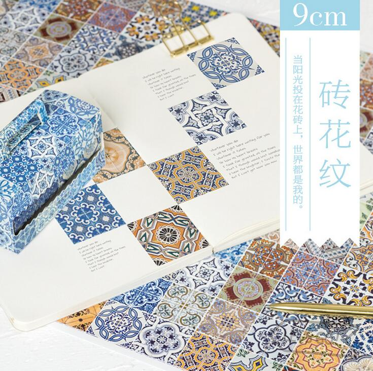 Creative Brick Pattern Decorative Washi Tape DIY Scrapbooking Masking Tape School Office Supply Escolar Papelaria