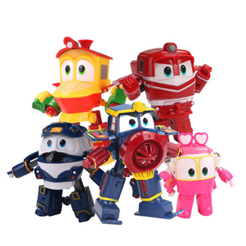 NEW Hot 6pcs/set Robot Trains Transformation Kay Alf Dynamic Train Family Deformation Train Car Action Figure Toys Toy Doll