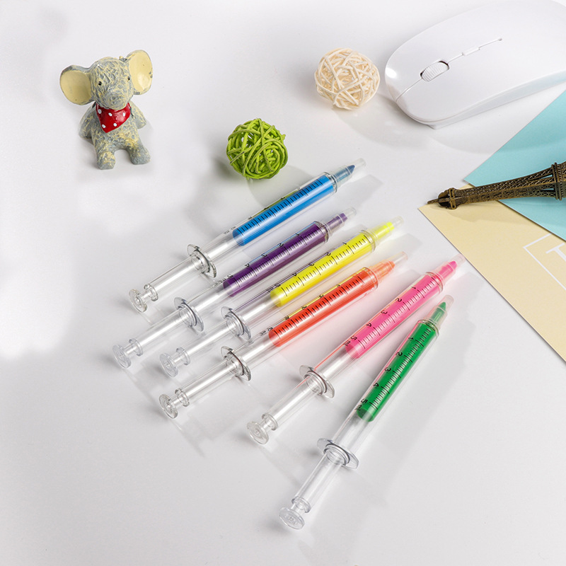 1 pcs Cute Kawaii Novelty Nurse Needle Syringe Shaped Highlighter Marker Marker Pen Stationery School Supplies