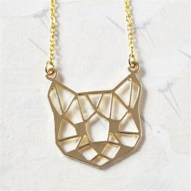 Fashion Origami Cat Face Necklace Outline Cat Face Necklaces