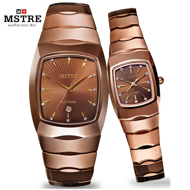 Brand MSTRE 1 Pair Tungsten Steel Fashion Luxury Casual Lovers Watch Quartz Diamond Men Women Wrist