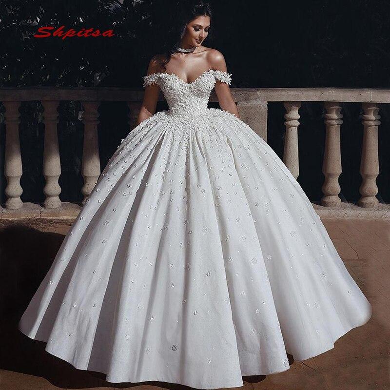 Vintage Ball Gown Wedding Dresses Satin Off Shoulder Turkey Plus Size Bride Bridal Weding Weeding Dresses Wedding Gowns 2019